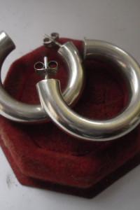 Srebrne kolczyki grube masuwne oponki 14 gr średnica 35 mm...
