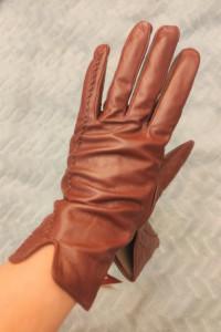 Bordowe rękawiczi eko skóra