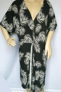 Sukienka Kopertowa Palmy Lindex XL 42 Liście Czarna Lindex...