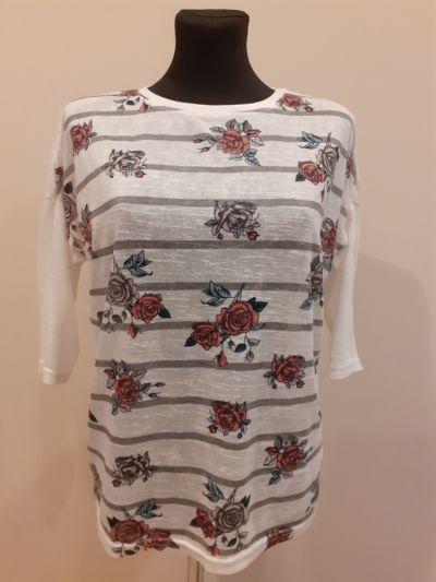 Swetry Krótki sweterek w róże i paski