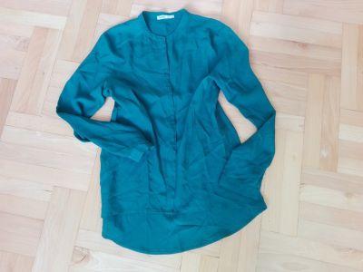 Koszule Zielona butelkowa zwiewna koszula L 40