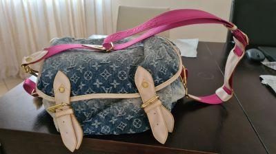 Torebki na co dzień Torba torebka na ramię Louis Vuitton dżinsowa różowy pas złote wstawki klamry dodatki duża pojemna