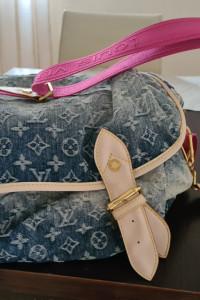 Torba torebka na ramię Louis Vuitton dżinsowa różowy pas złote ...