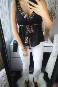 Cotton Club Koszula damska z wiązaniem czarna L...