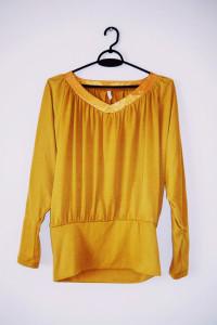 Musztardowa żółta bluzka motyl oversize miodowa...