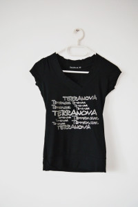 Czarny T shirt Terranova rockowa koszulka z napisami...