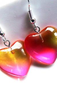Tęczowe kryształowe serduszka delikatne kolczyki w srebrze...