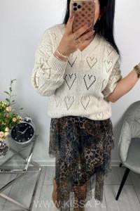 Sweter ażurowe serca...