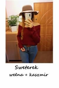 Burgundowy sweter wełna kaszmir S M L...
