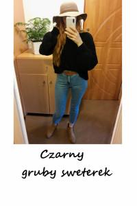 Sweter z szerokimi rękawami gruby czarny oversize S M L one siz...