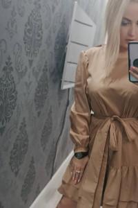 Sukienka cammel w komplecie z paskiem...
