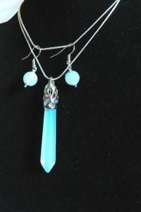 Białe opale i srebro piękny zestaw biżuterii...