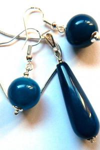 Granatowe agaty w srebrze delikatny zestaw biżuterii...