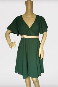 Sukienka Zielona H&M Rozkloszowana XS 34 Butelkowa Zieleń...
