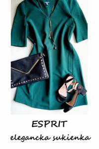 Elegancka sukienka Esprit L XL butelkowa zieleń do pracy na co ...