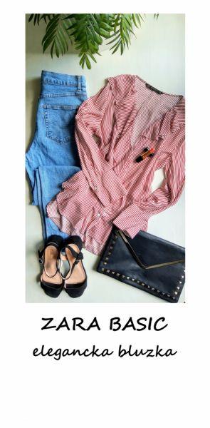Bluzki Elegancka koszulowa bluzka w paski Zara Basic S M L wiskoza z falbanką