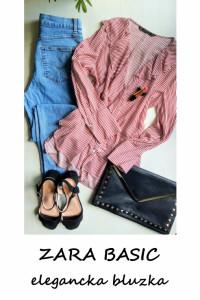 Elegancka koszulowa bluzka w paski Zara Basic S M L wiskoza z f...