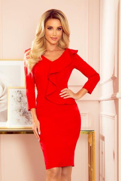 Suknie i sukienki Czerwona elegancka sukienka falbana dekolt S M L XL