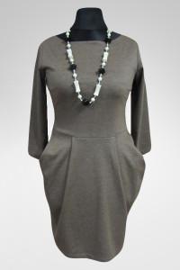 Elegancka sukienka dzianinowa z kieszeniami 38 M mocca...