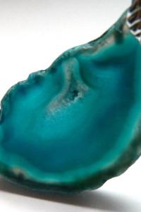 Niebieski transparentny agat nieregularny plaster wisiorek...