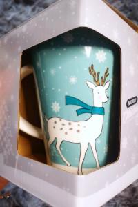Kubek ceramiczny świąteczny reniferek śnieżynki 400ml...