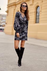 Sukienka mini rekaw bufki wzór S M L KOLORY...