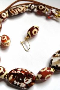 Ognisty agat smoczy ekskluzywny unikatowy zestaw biżuterii...