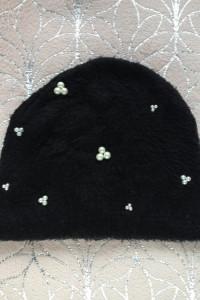 Czapka perły perełki diy handmade białe zimowa mohito akcesorie...