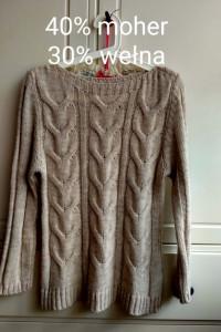 Pleciony sweter kawa z mlekiem S M wełna moher