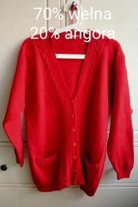 Czerwony sweter wełniany wełna angora kardigan xxl 46