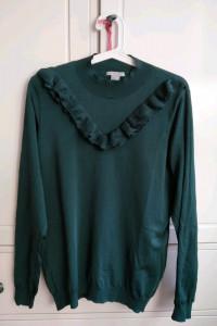 Zielona butelkowa zieleń bluza sweter z falbanką H&M L 40...