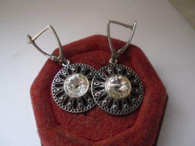 Kolczyki Śliczne srebrne ażurowe kolczyki z cyrkoniami