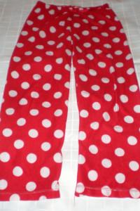 czerwone spodnie do spania polar S M...
