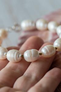 Bransoletka duże naturalne perły...