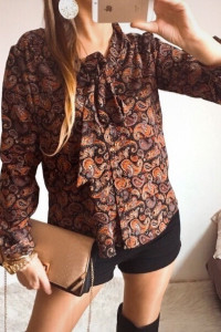 Bluzka Damska brązowa wzorzysta elegancka M