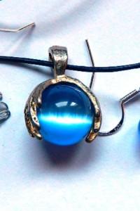 Błękitne kocie oko delikatny uroczy zestaw dla dziewczynki...