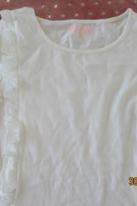 Biała bluzka dla dziewczynki nastolatki 152 falbany piękna promocja