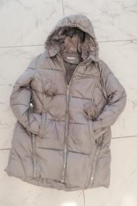 Szary asymetryczny płaszcz pikowany ocieplany zimowy Unisono...