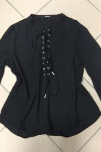 Koszula czarna wiązana wiązanie Tally Weijl XXS 32