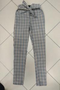 Spodnie beżowe krata kratka wiązane 34 XS...