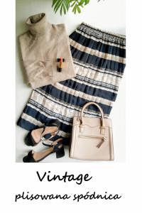 Plisowana spódnica midi vintage M L XL