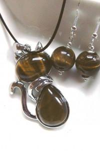 Tygrysie oko wisiorek z kotkiem kolczyki zestaw biżuterii...