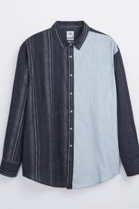 Koszula z łączonych materiałów w paski Zara Man M...