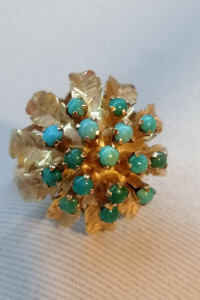 Złoty pierścionek victoriński z turkusami