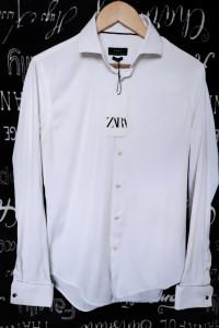 Biała Koszula Mankiety na spinki Zara Man Slim Fit M...