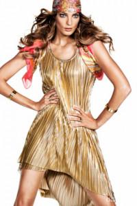 H&M złota błyszcząca metaliczna plisowana sukienka asymetryczna...