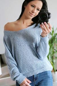 Sweter bawełniany oversize niebieski