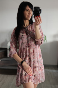 Sukienka szyfon rozowa