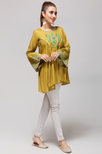 Nowa bluzka tunika indyjska L 40 XL 42 haft zielona oliwkowa bo...
