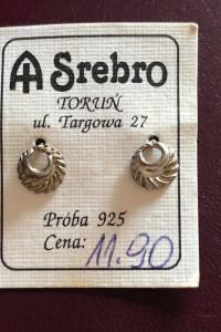 Śliczne nowe srebrne kolczyki wkręty 925